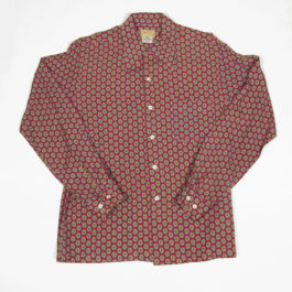 1940's mens rayon long sleeve shirts. paisley pattern, front 40年代メンズペイズリーシャツ