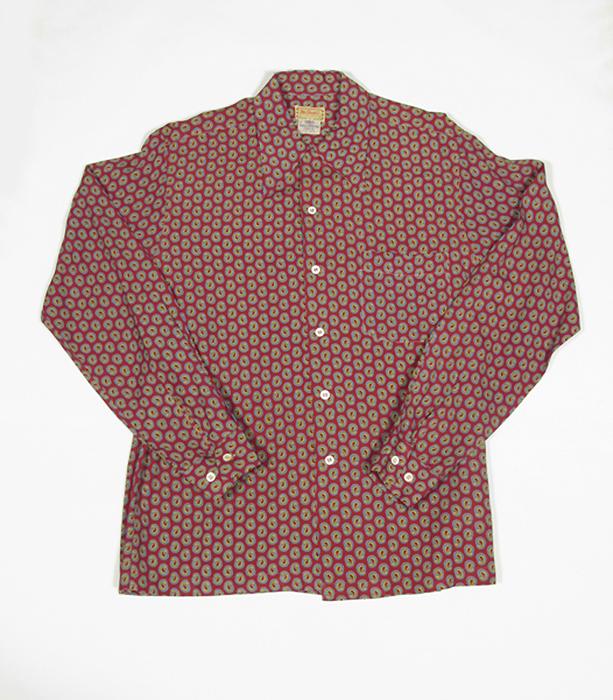 1940's mens rayon long sleeve shirts. paisley pattern, front 40年代メンズペイズリーシャツ