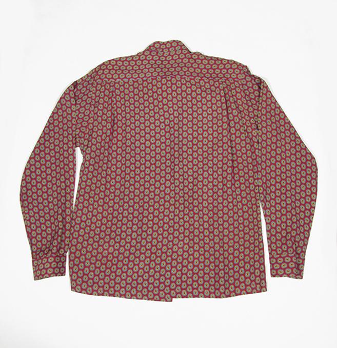 1940's mens rayon long sleeve shirts. paisley pattern, back, 40年代メンズペイズリーシャツ