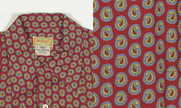 1940's mens rayon long sleeve shirts. paisley pattern, detal