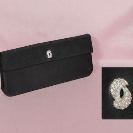 ビンテージクラッチバッグ、1960年代黒、パーティー