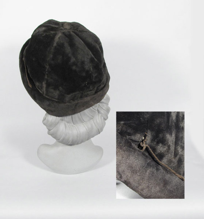 1910's ladies black velvet hat