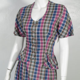 1940'sレーヨン格子縞トップス/スカートセットビンテージペプラム