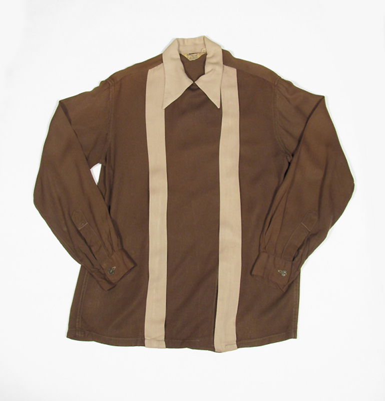 1940'sレーヨンギャバジン長袖シャツ, vintage 1940's rayon gabardine long sleeve shirts, rockabilly