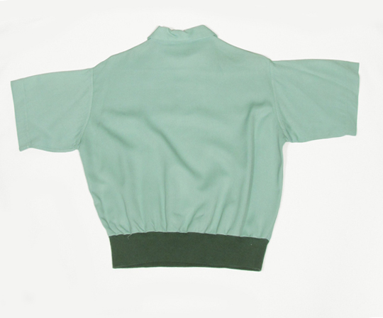 1940'sハーフジップレーヨンギャバジンシャツ vintage 1940's rayon gabardine half sleeve shirts, rockabilly