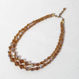 1960'sアンバーカラー2連ネックレス,琥珀色ビンテージ