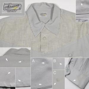1950'sレーヨンギャバジン長袖シャツ、ビンテージロカビリー