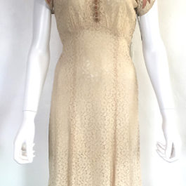 1930'sLACE AND LINEN DRESS
