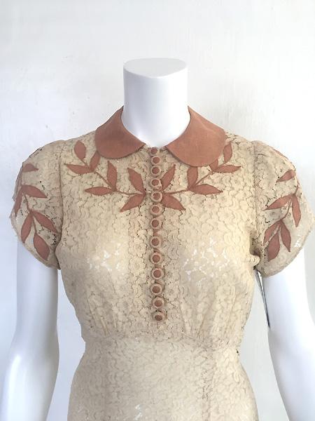 1930'sLACE AND LINEN DRESS