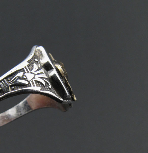40'sスターリングシルバーリングカウボーイ馬ビンテージ28号指輪