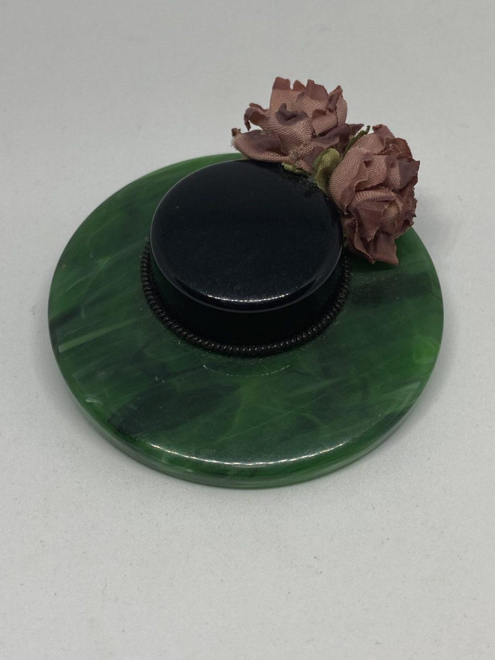 ♥40's ベークライト ハット ブローチ♥Vintage Bakelite Hat Brooch♥