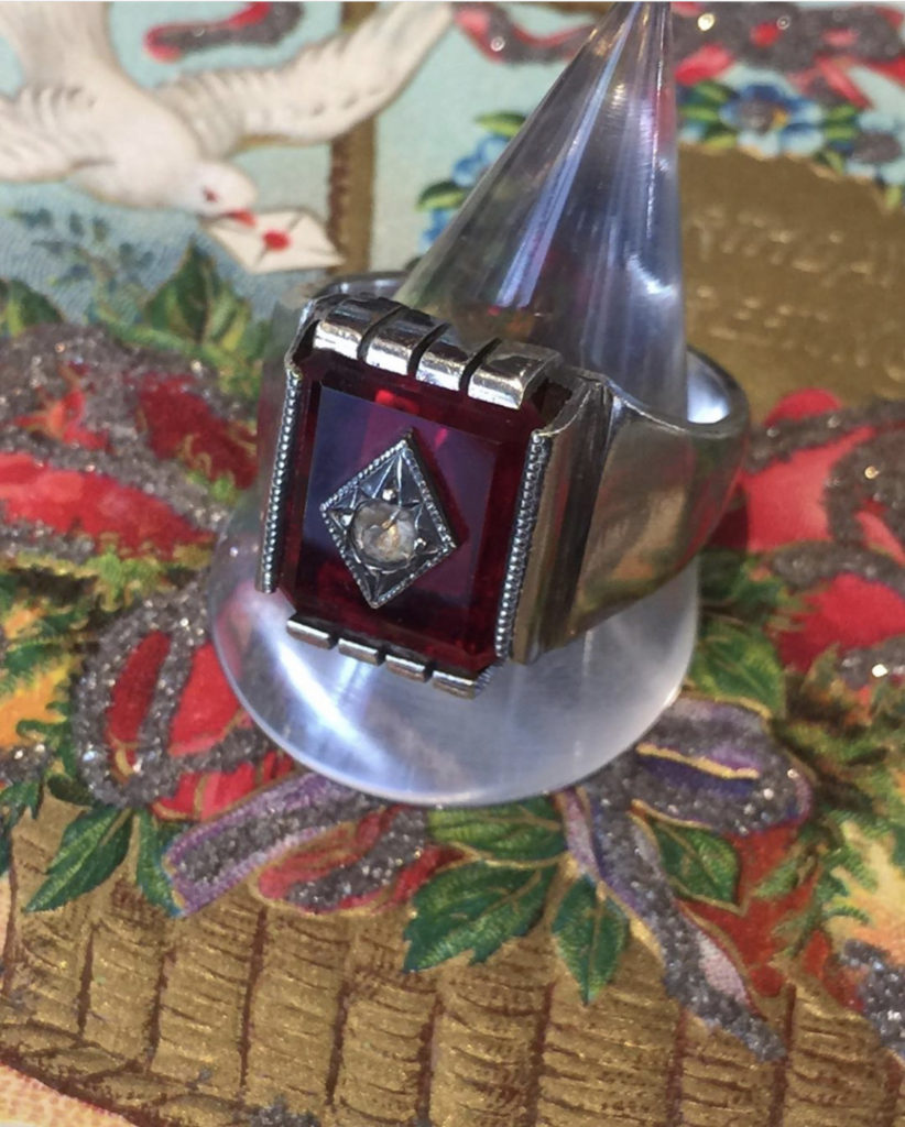 ♥Art deco ring in sterling silver with diamond♥