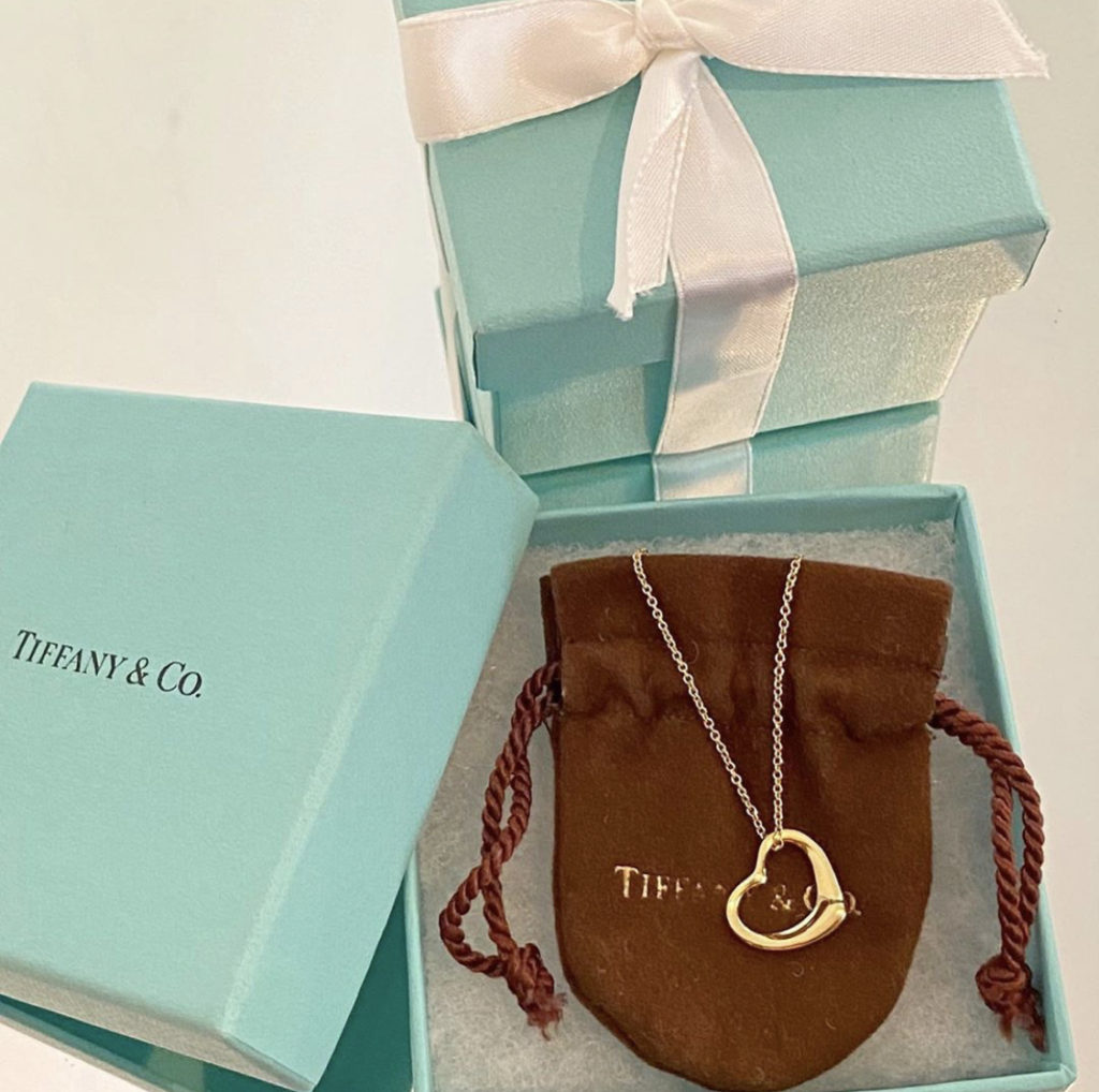 ♥Tiffany open heart gold necklace♥